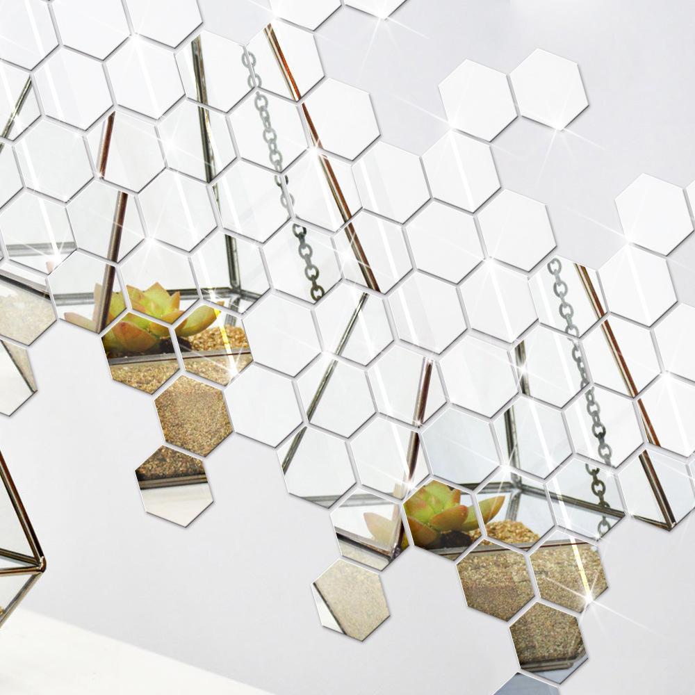 12Pc 3D Mirror Hexagon Vinyl Removable Wall Sticker Decal Home Room Decor Art LN